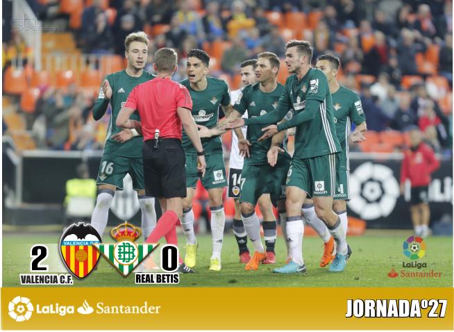 Crónica | Valencia CF 2 – Real Betis Balompié 0: El Betis aparca sus opciones europeas en Mestalla
