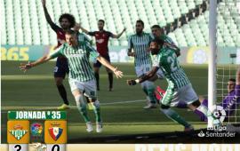 Crónica | Real Betis Balompié 3 – C.A. Osasuna 0. Ya solo quedan tres
