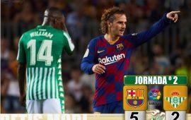 Crónica | FC Barcelona 5 – Real Betis Balompié 2: Un Barça sin Messi vapulea al Real Betis